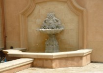 Material: Stone Fountain & Tiles; Precast Cap & Trim